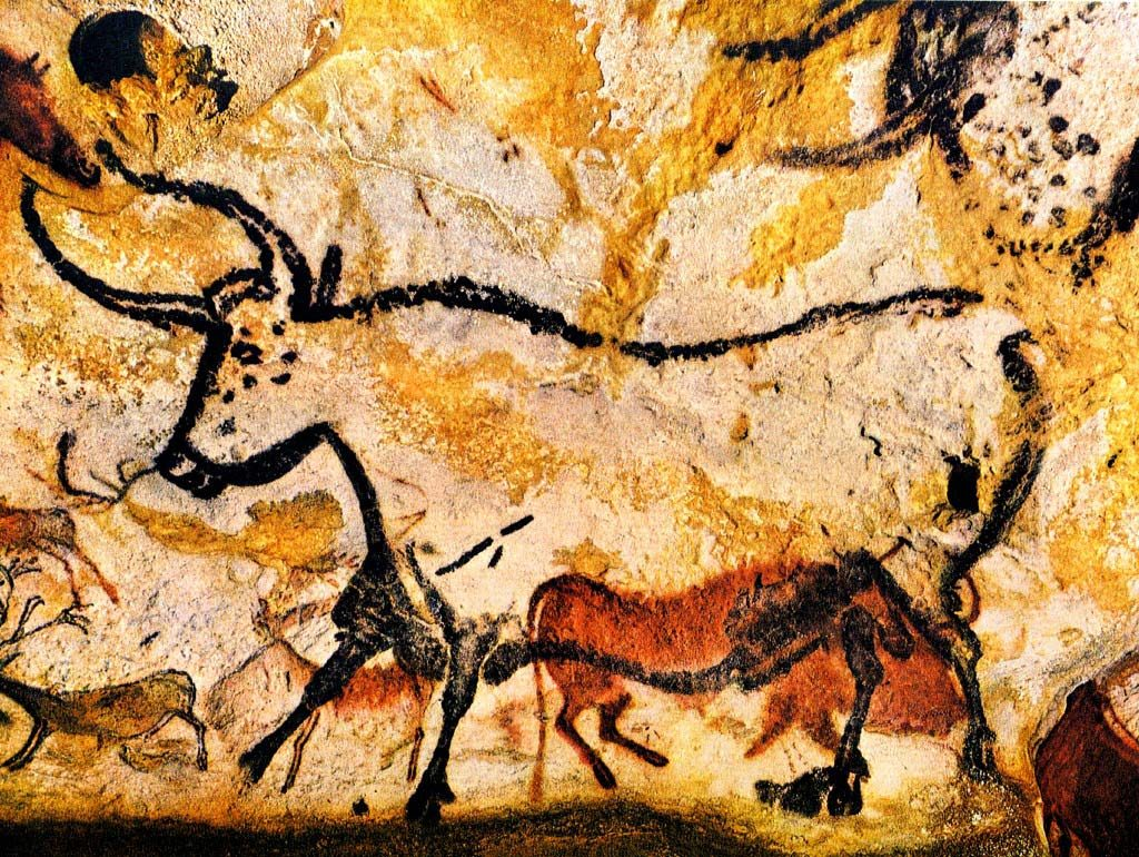 Cave drawing of bull